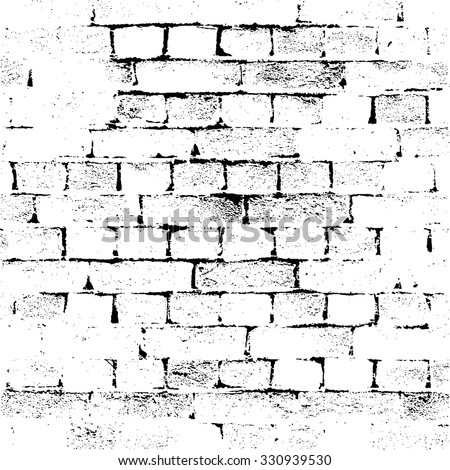 Brick Wall silhouette pattern. Noisy print. Vintage style with detail grunge. Monochrome retro scratch background. Texture for poster, fabric, background and different print production. Vector Eps10