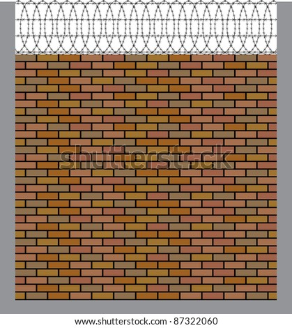 brick wall with barbed wire - stock vector