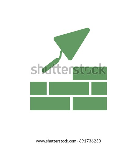 Brick with Trowel Symbol. Vector illustration