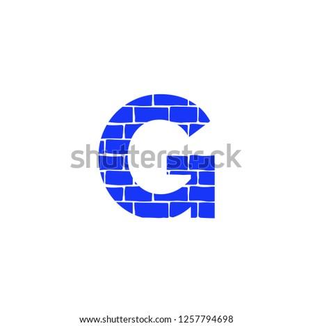 Bricklayer Vector Logo Letter G. G Letter Design Vector Stock fotó ©