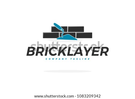 Bricklayer Vector Logo with Trowel and Brick Wall