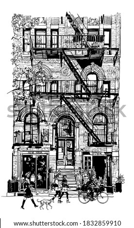 Bricks buildings facades with fire escape stairs in New York with people in the street - vector illustration