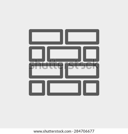 Bricks icon thin line for web and mobile, modern minimalistic flat design. Vector dark grey icon on light grey background.