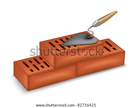 bricks with a trowel vector