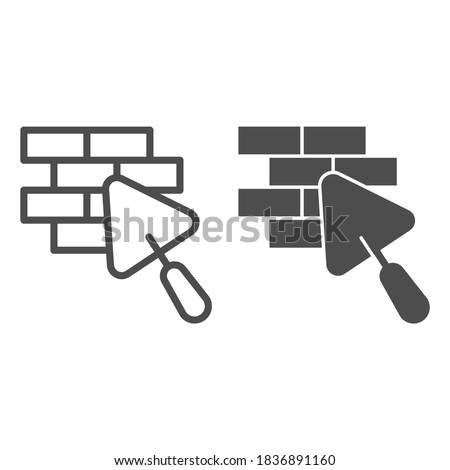 Brickwork and trowel line and solid icon, house repair concept, Bricklaying sign on white background, Brick wall trowel icon in outline style for mobile concept and web design. Vector graphics. Foto stock ©