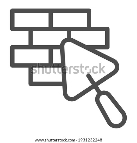 Brickwork and trowel line icon, house repair concept, Bricklaying sign on white background, Brick wall trowel icon in outline style for mobile concept and web design. Vector graphics Stockfoto ©