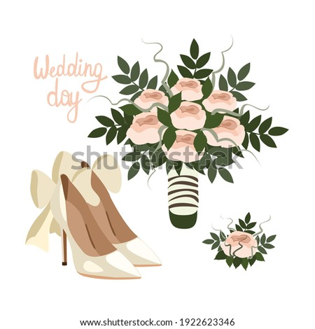 Bridal bouquet and shoes hand drawn cartoon illustration, wedding objects   Stock photo ©