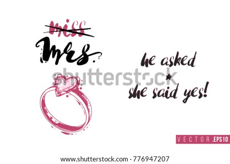 Bridal greeting card with engagement ring composition and text: he asked and she said yes. Tender pink composition for wedding, nuptials, hen-party invitation cards.
