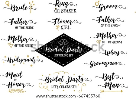 bridal party hand lettering