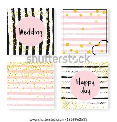 Bridal Pattern. Hand Drawn Illustration Set. Golden Splatter Cover. Scatter Textile. Black Dream Starburst. White Carnival Magazine. Stripe Gatsby Art. Golden Bridal Pattern Stock photo ©