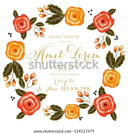 Bridal Shower invitation card Save the date floral card. Vintage wedding invitation. Flowers - summer bright background.