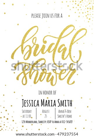 Bridal Shower invitation card template. Classic gold calligraphy vector lettering. White background with golden glittering dot pattern decoration Stock photo ©