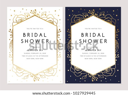 Bridal Shower Invitation featuring Flowers. Bridal Shower Card Bundle