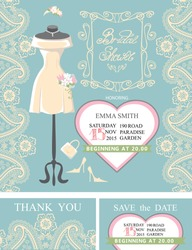 Bridal shower invitation set.Bridal dress and accessories with paisley lace,heart,swirling frame.Dress put on mannequin.Wedding invitation,save the date card, thank you card.Vector