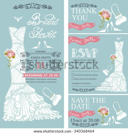 Invitation vector for bridal shower bridal shower invitation setide wedding dressbouquet swirling bordersframesaccessories stopboris