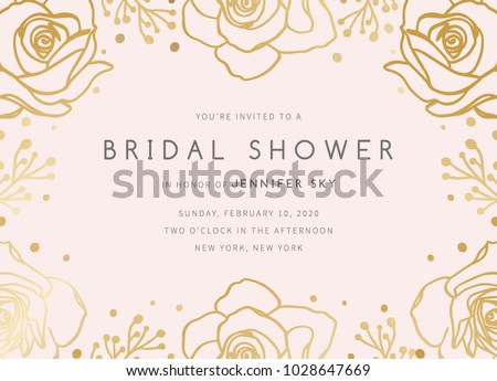 Bridal Shower Invitation Template. Bridal Shower Invite with flowers on pink background Stock photo ©