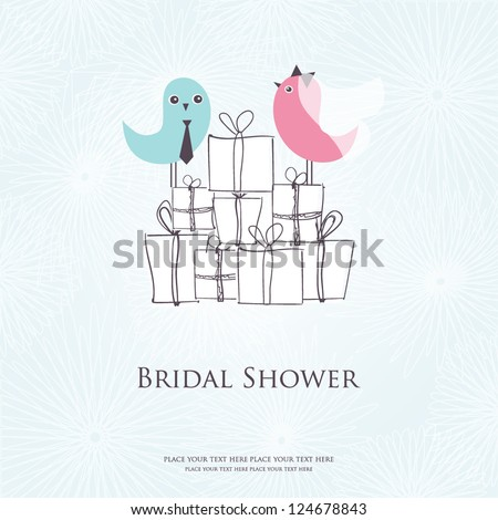 Bridal shower invitation with two cute birds in bride and groom