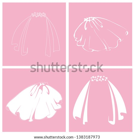 Bridal veil. Set of isolated icons. Vector isolated illustration. Stockfoto ©