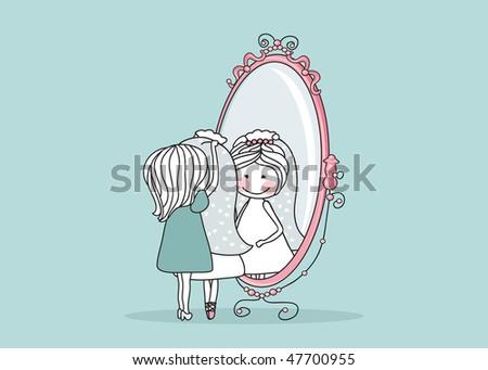 bride and bridesmaid - stock vector