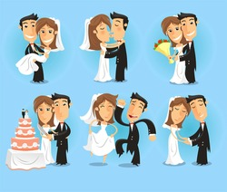 Bride and Groom at their Wedding Party, in happy moments of the most important night vector illustration.
