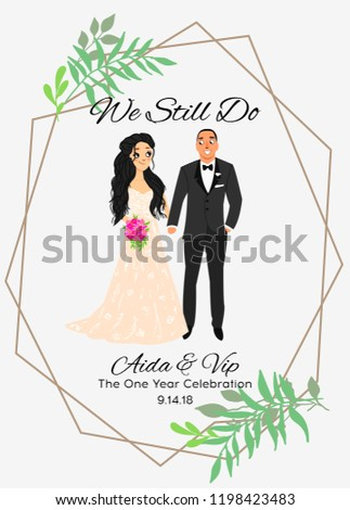 Bride and groom.Couple. Wedding card with the newlyweds. Isolated objects. Vector illustration. #1198423483