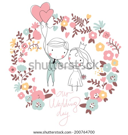 bride and groom cute vector