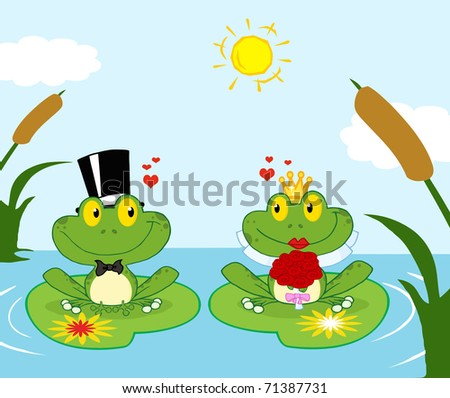 bride and groom frogs cartoon
