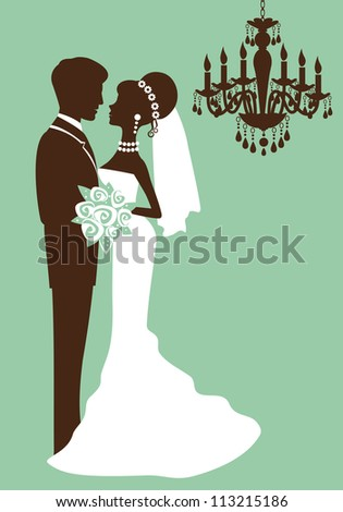 Bride and groom just married silhouettes