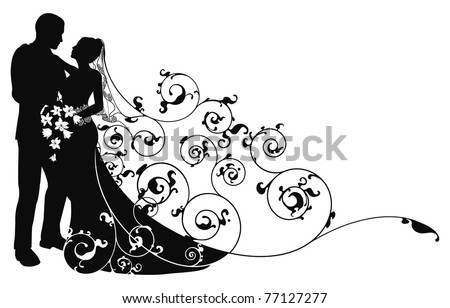 Bride and groom looking into each others eyes abstract background pattern silhouette - stock vector