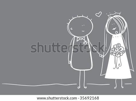 stock vector Bride and groom loose sketch