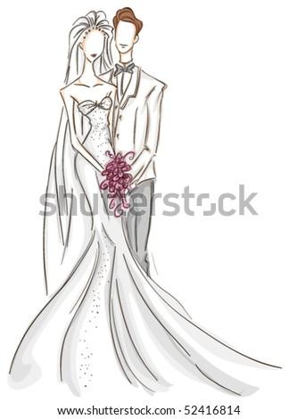 Bride and Groom Sketch - Vector - stock vector