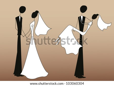 Bride and groom, stick figures