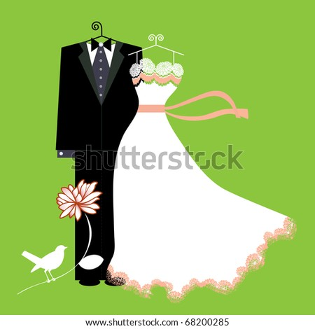 bride and groom suit and dress