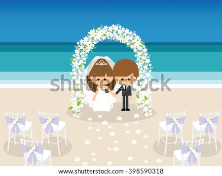 bride and groom under flower