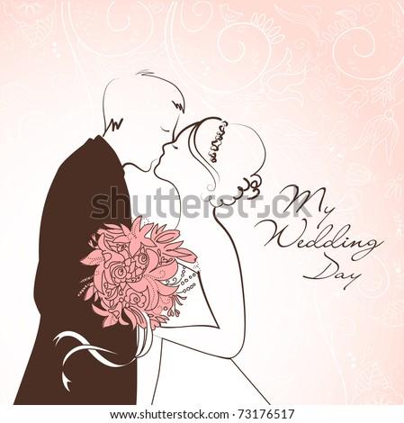 stock vector Bride and Groom Wedding Background