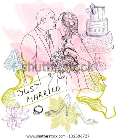 Bride and Groom. Wedding Background with different elements, vector - stock vector