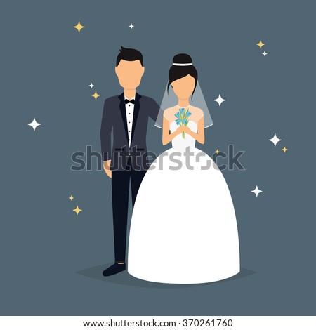 stock-vector-bride-and-groom-wedding-design-over-grey-background-vector-illustration