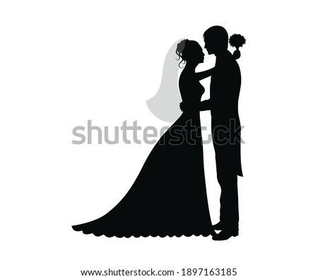 Bride and Groom wedding Romantic lovely Couple black silhouette on white background stock vector Photo stock ©