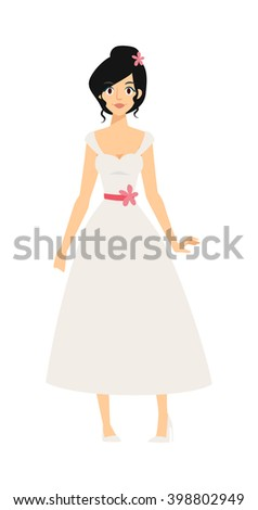 bride girl in white dress and