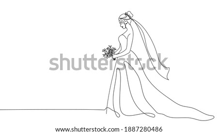 Bride holding a bouquet continuous line drawing.One line bride silhouette side view wearing a wedding dress.Continuous line hand drawn vector illustration for wedding,bridal shower invitation Photo stock ©