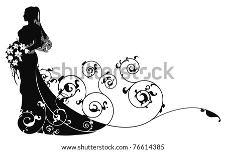 Bride in beautiful wedding dress silhouette forming into abstract pattern background