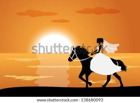 bride in wedding dress riding a