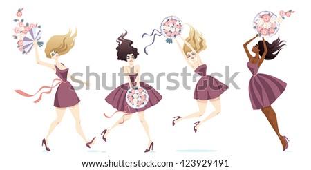 bridesmaids catch the bouquet