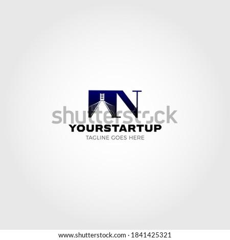 Bridge blended with initial letter N logo Foto stock ©