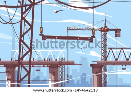 Bridge construction process vector illustration. Steps of formation new bridgework flat style. Tower crane holds concrete support. Building design and maintenance work concept stock photo