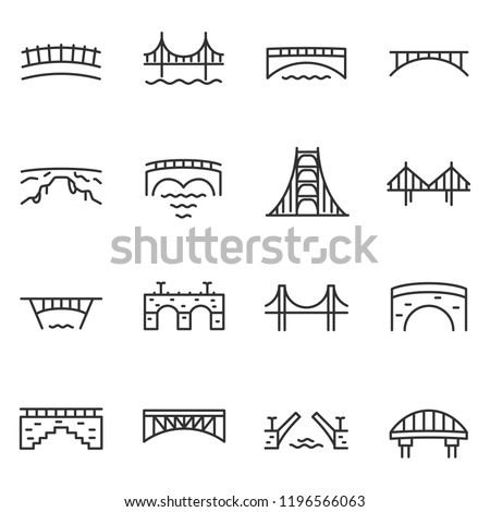 Bridge, icon set. Various bridges, linear icons. Line with editable stroke