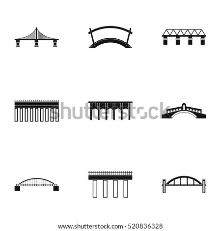 Bridge icons set. Simple illustration of 9 bridge vector icons for web