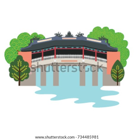 bridge pagoda in illustration