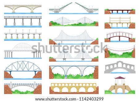 Bridge vector urban crossover architecture and bridge-construction for transportation illustration bridged set of river bridge-building with carriageway isolated on white background