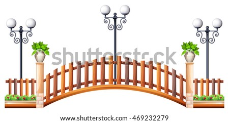 bridge with wooden fence and